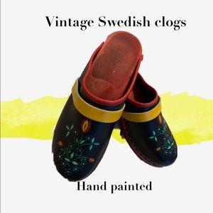 Hand painted vintage Swedish clogs